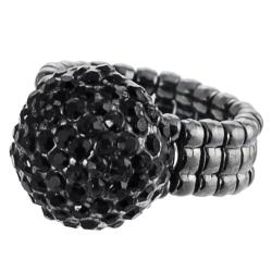 Journee Collection Rhodium-plated Black Rhinestone Dome Stretch Ring