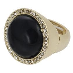 Journee Collection Goldtone Crystal Black Dome Stretch Ring