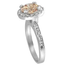 Journee Collection Rhodium-plated Champagne Cubic Zirconia Ring
