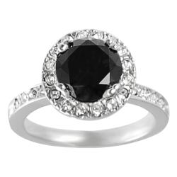 Journee Collection Rhodium-plated Black Cubic Zirconia Ring