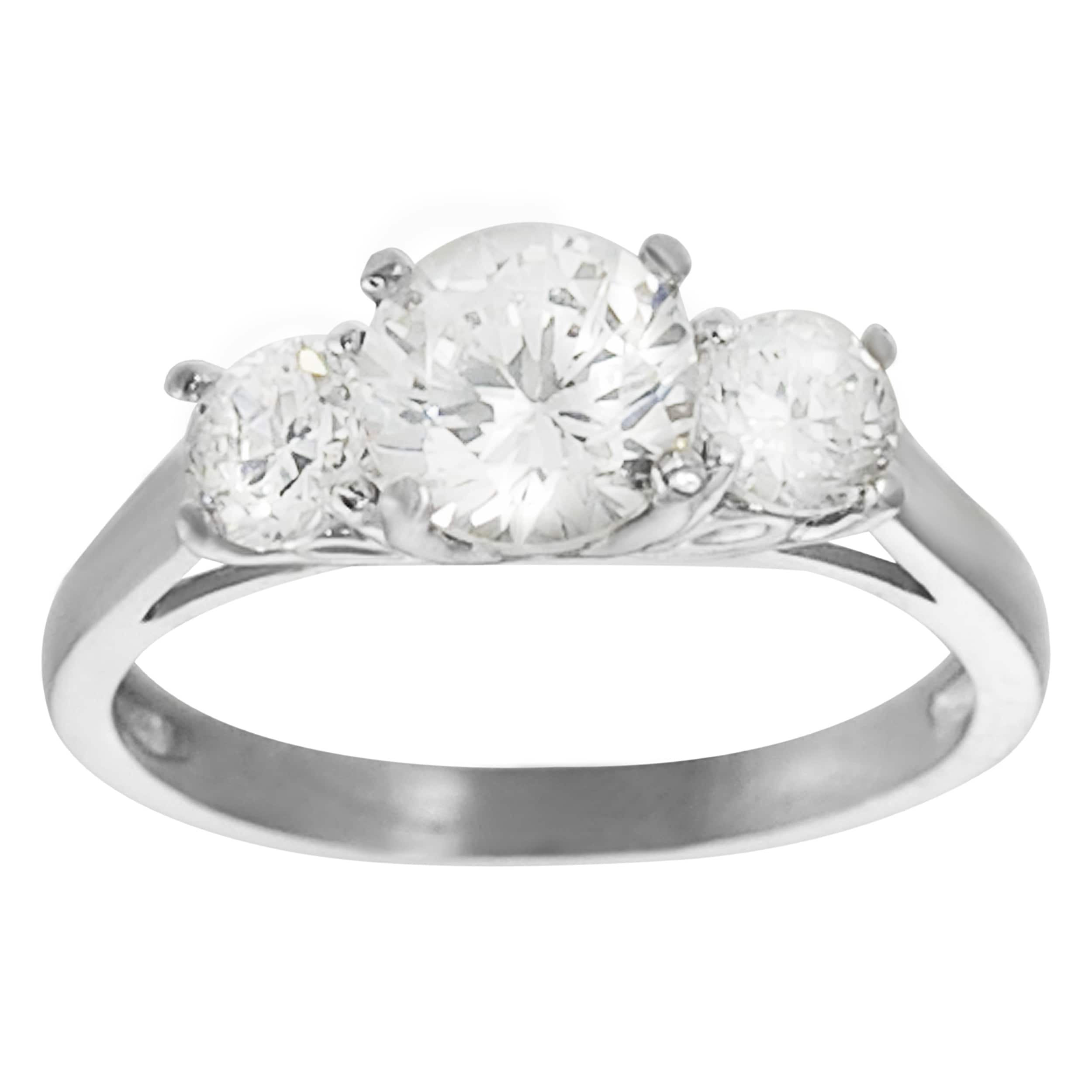 Journee Collection Rhodium-plated Cubic Zirconia Engagement-style Ring