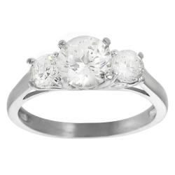 Journee Collection Rhodium-plated Brass Cubic Zirconia Engagement-style Ring