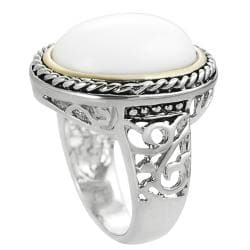 Journee Collection Two-tone Antique-style White Enamel Ring