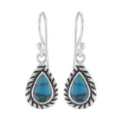 Sunstone Sterling Silver Created Turquoise Roped Edge Dangle Earrings