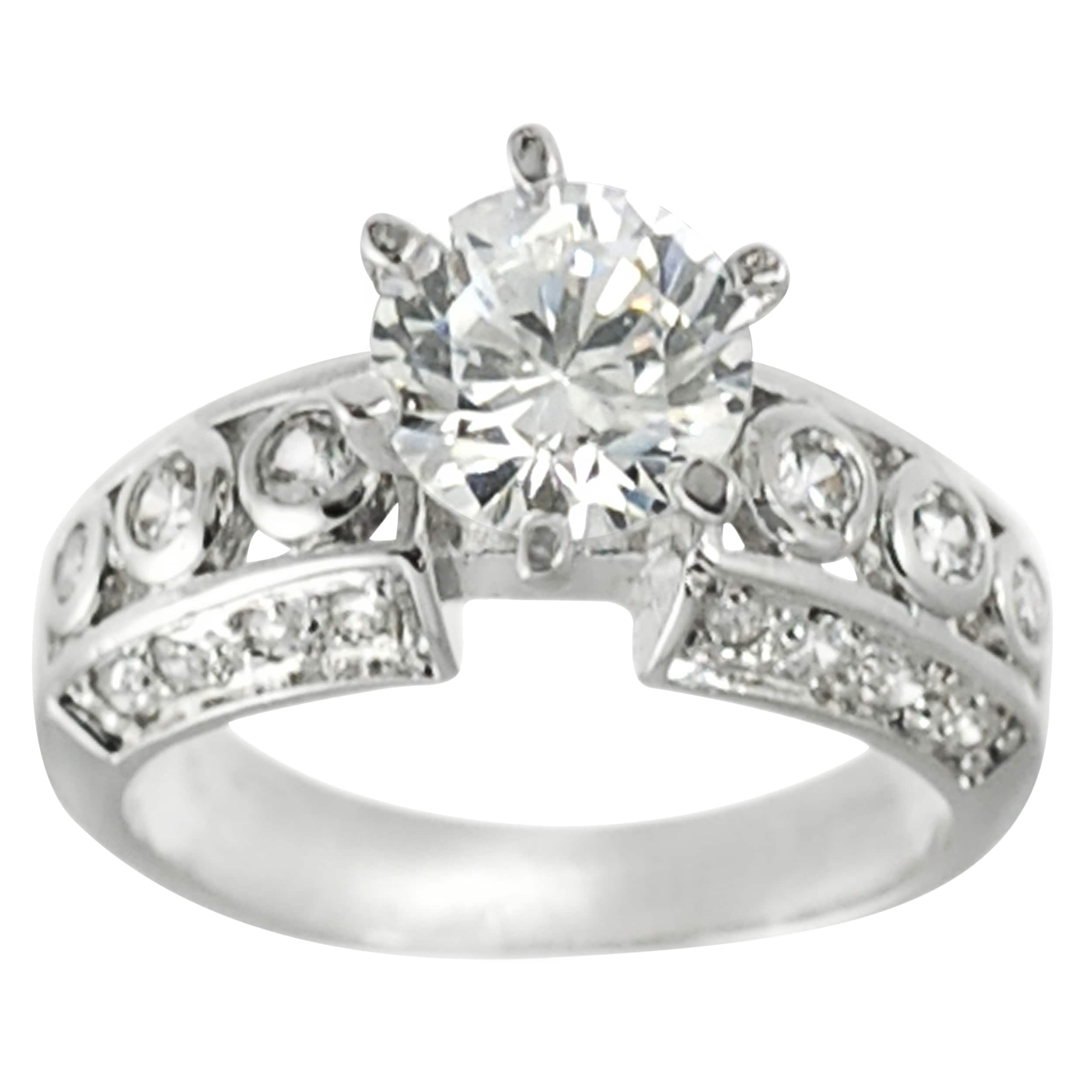 Journee Collection Rhodium-plated White Cubic Zirconia Engagement-style Ring