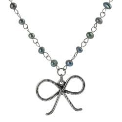 Journee Collection Silvertone Blue Pearlescent Glass Bow Necklace