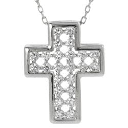 Tressa Sterling Silver White Cubic Zirconia Cross Necklace