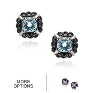 Glitzy Rocks Silver Gemstone and Black Diamond Accent Stud Earrings
