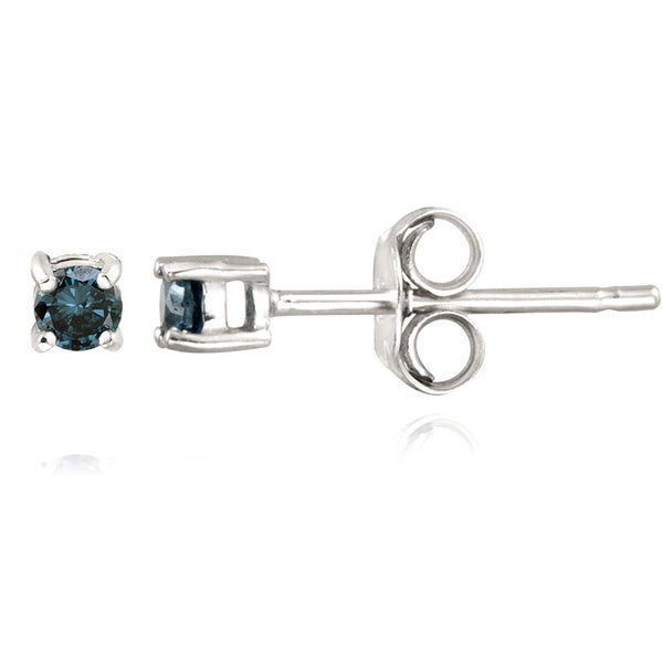 DB Designs Sterling Silver 1/8ct TDW Blue Diamond Stud Earrings