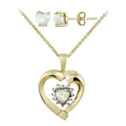 Glitzy Rocks Gold over Silver Created Opal and Diamond Heart Jewelry Set