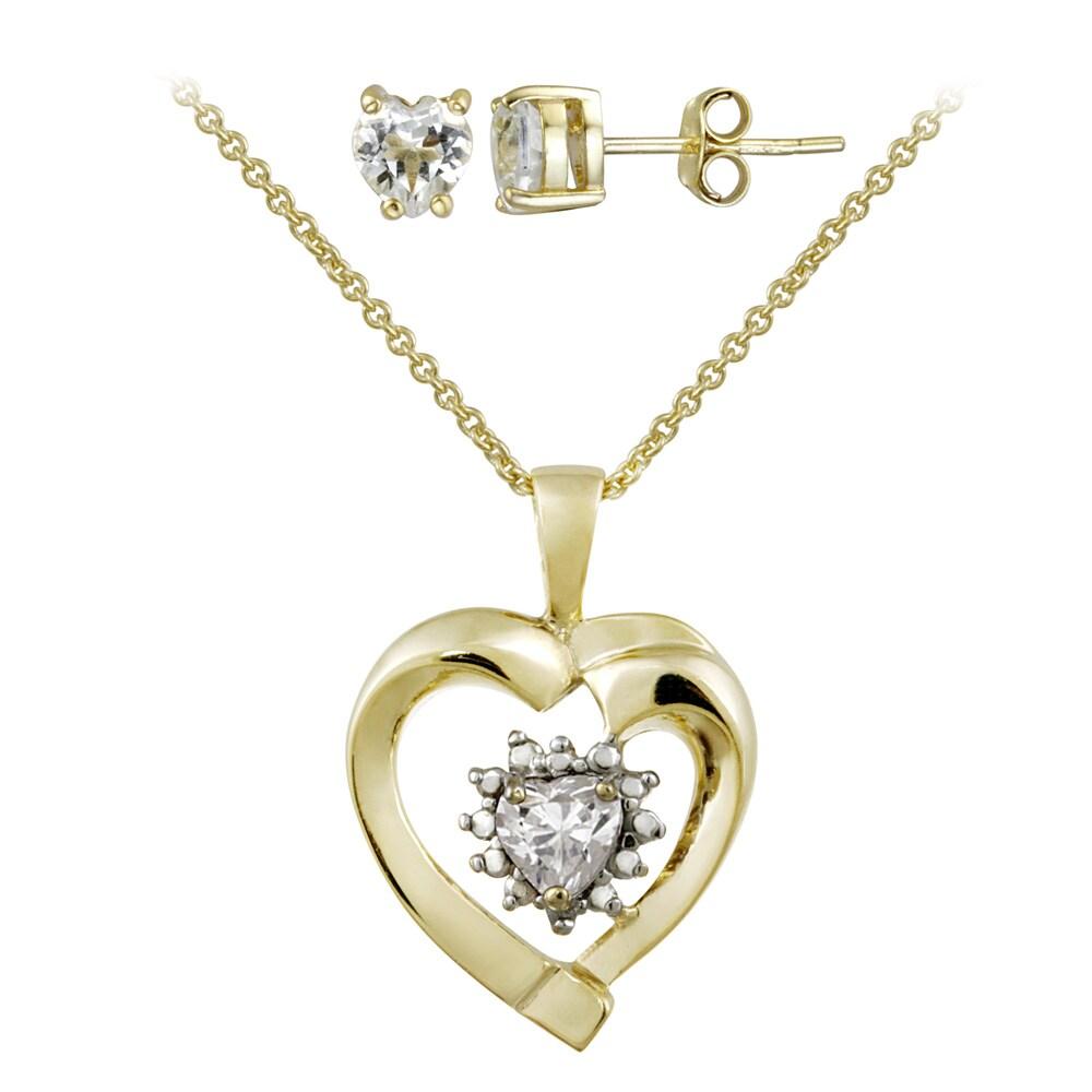 Glitzy Rocks Gold over Silver White Topaz and Diamond Heart Jewelry Set