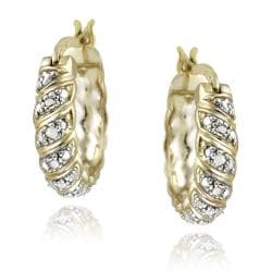 DB Designs 18k Yellow Gold over Silver Diamond Accent San Marco Hoop Earrings