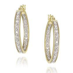 DB Designs 18k Yellow Gold over Silver 1/8ct TDW Diamond Oval Hoop Earrings (J, I3)