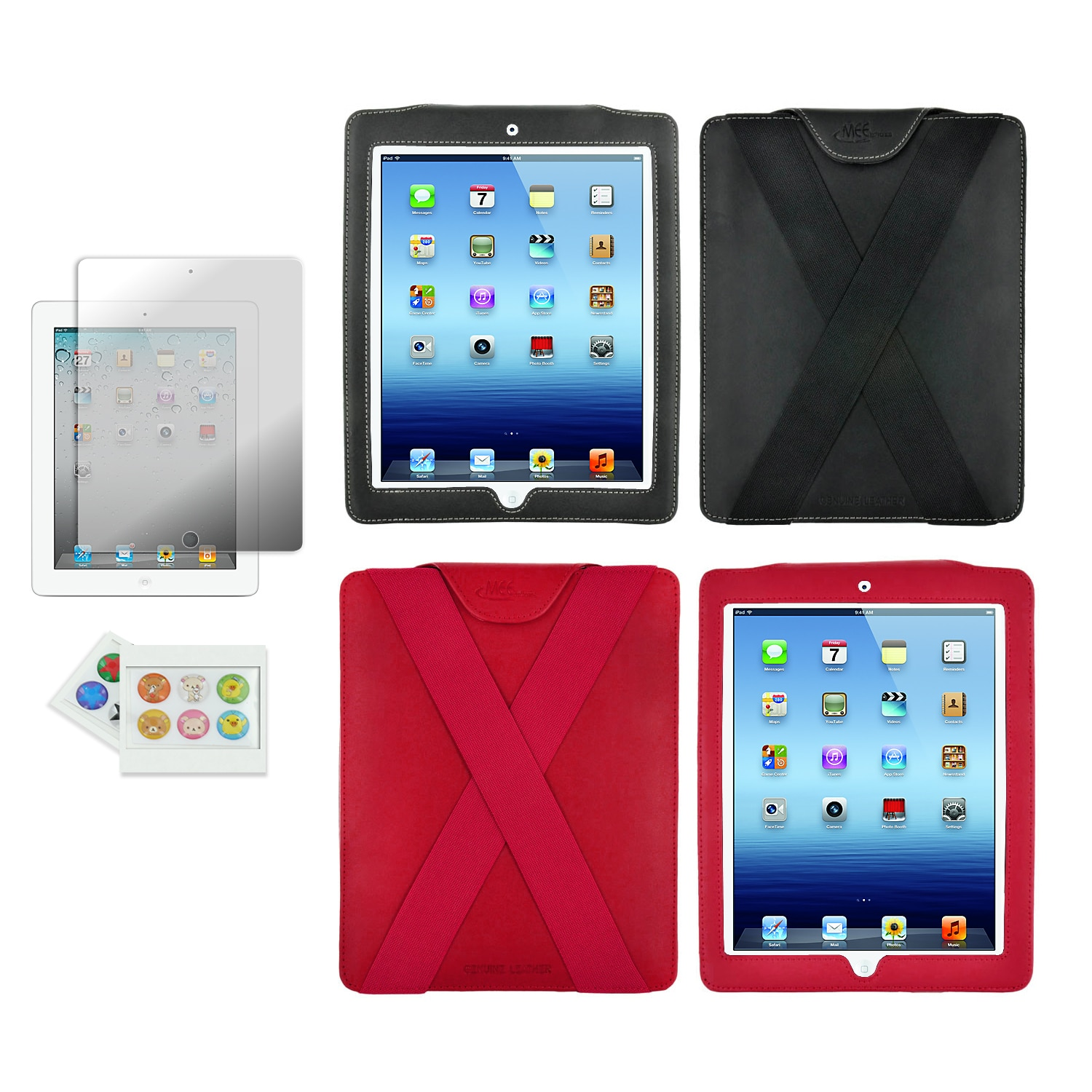Universal iPad1/2/3/4 Genuine Leather X-Case Combo Kit