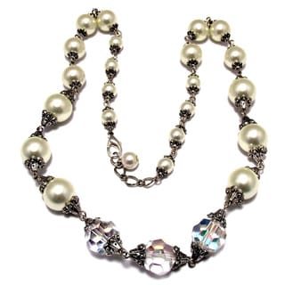 Silverplated Clear AB Crystal and Ivory Glass Pearls Jewelry Set