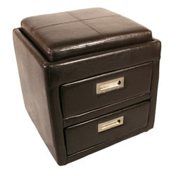 Paris Bedside Ottoman with 2 drawers and Tray Top