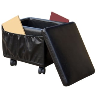 Paris Wheeled Storage Ottoman with Magazine Holder