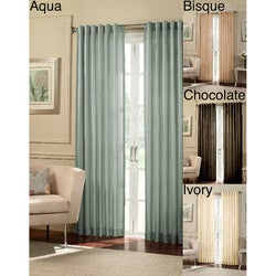 Cooper Stripe Faux Silk 84-inch Curtain Panel (Set of 2)