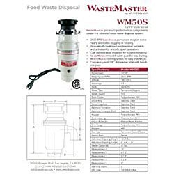 WasteMaster 1/2-HP Food Waste Disposer Garbage Disposal with Chrome Air Switch Kit