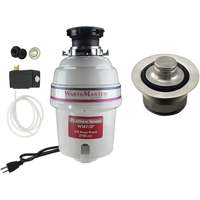 WasteMaster 3/4-HP Quiet Garbage Disposal with Stainless-Steel Air Switch Kit