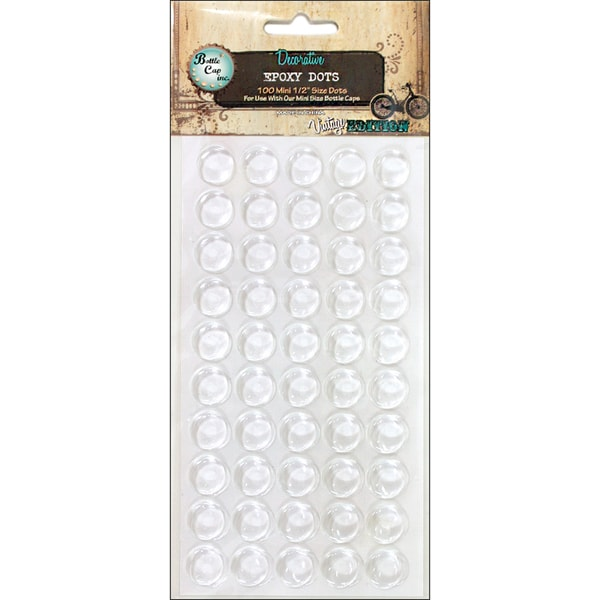 Bottle Cap Vintage Collection Epoxy Dots 1in (Pack of 50)