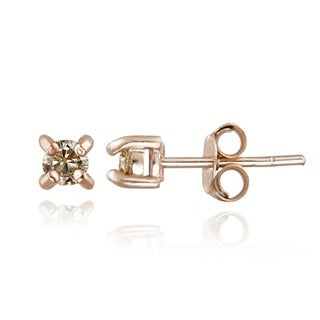 DB Designs Rose Gold over Silver 1/4ct TDW Champagne Diamond Stud Earrings