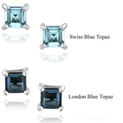 Glitzy Rocks Sterling Silver 7/8ct TGW Blue Topaz Square Stud Earrings