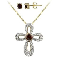 Glitzy Rocks Two-tone Garnet and Diamond Accent Cross Jewelry Set