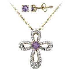 Glitzy Rocks Two-tone Amethyst and Diamond Accent Cross Jewelry Set