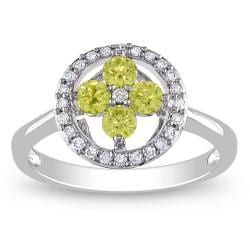 Miadora 14k White Gold 1/2ct TDW Yellow and White Diamond Ring (G-H, I1-I2)