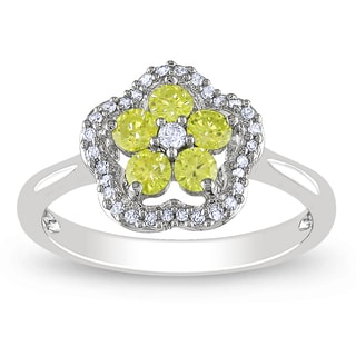 Miadora 14k White Gold 1/2ct TDW Round-cut Yellow and White Diamond Ring (G-H, I1-I2)