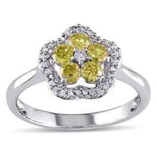 Miadora 14k White Gold 1/2ct TDW Round-cut Yellow and White Diamond Ring (G-H, I1-I2)