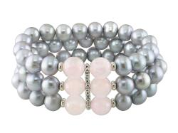 Sterling Silver 35ct TGW Rose Quartz and FW Pearl Bracelet (9.5-10 mm)