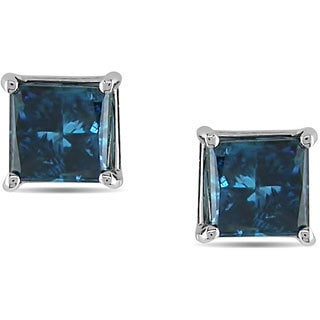 Haylee Jewels 14k White Gold Princess Blue Diamond Stud Earrings