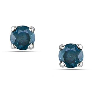 Haylee Jewels 14k White Gold 1/4ct TDW Blue Diamond Solitaire Earrings
