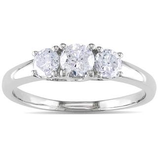 Miadora 14k White Gold 3/4ct TDW Diamond 3-stone Ring (H-I, I2-I3)