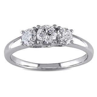 Miadora 14k White Gold 3/4ct TDW Diamond 3-stone Ring (H-I, I2-I3)