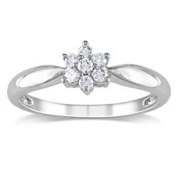 Miadora 10k White Gold 1/6ct TDW Diamond Flower Ring (H-I, I2-I3)