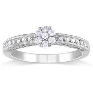 Miadora  10k White Gold 1/5ct TDW Diamond Promise Ring (H-I, I2-I3)
