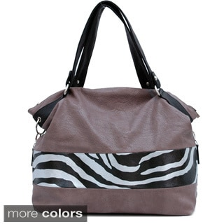 Dasein Zebra Panel Tote Bag