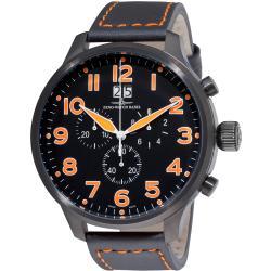 Zeno Men's 6221-8040-BK-A15 'SOS' Black Dial Black Leather Strap Chronograph Watch