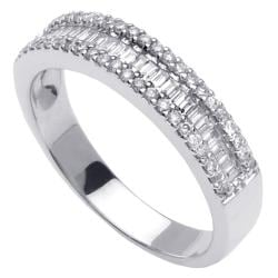 14k White Gold 3/5ct TDW Baguette Diamond Anniversary Band (G-H, SI1-SI2)