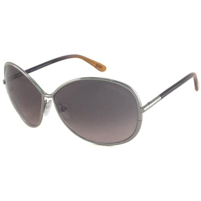 Tom Ford Women's TF0180 Iris Silver/Blue-Orange-Gradient Rectangular Sunglasses