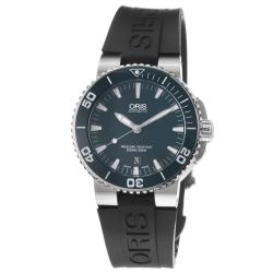Oris Men's 01 733 7653 4155-07 4 26 34EB 'Aquis Date' Blue Dial Black Rubber Strap Automatic Watch