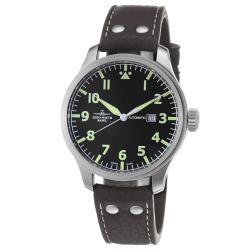 Zeno Men's 'Pilot' Black Dial Brown Leather Strap Automatic Watch