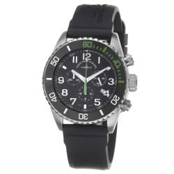 Zeno Men's 'Divers' Black Dial Black Strap Chronograph Watch