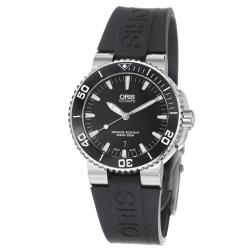 Oris Men's 01 733 7653 4154-07 4 26 34EB 'Aquis Date' Black Dial Black Rubber Strap Automatic Watch