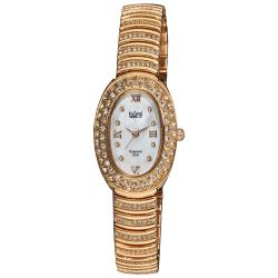 Burgi Women's Diamond Accent Oval Quartz Bracelet Watch
