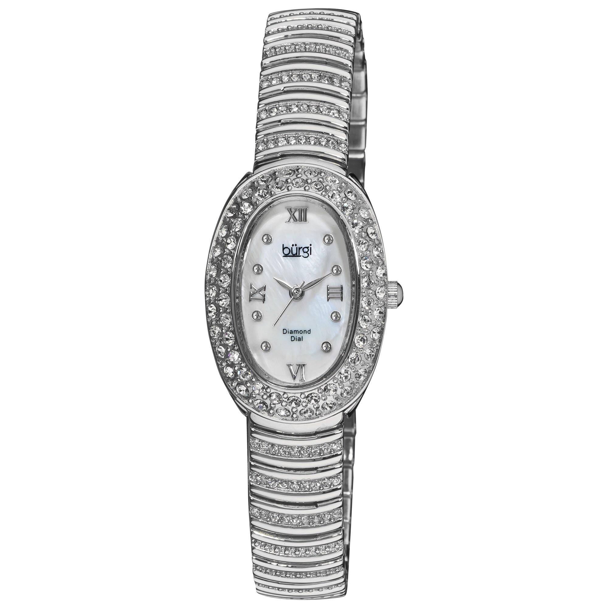 Burgi Women's Diamond Oval Quartz Bracelet Watch