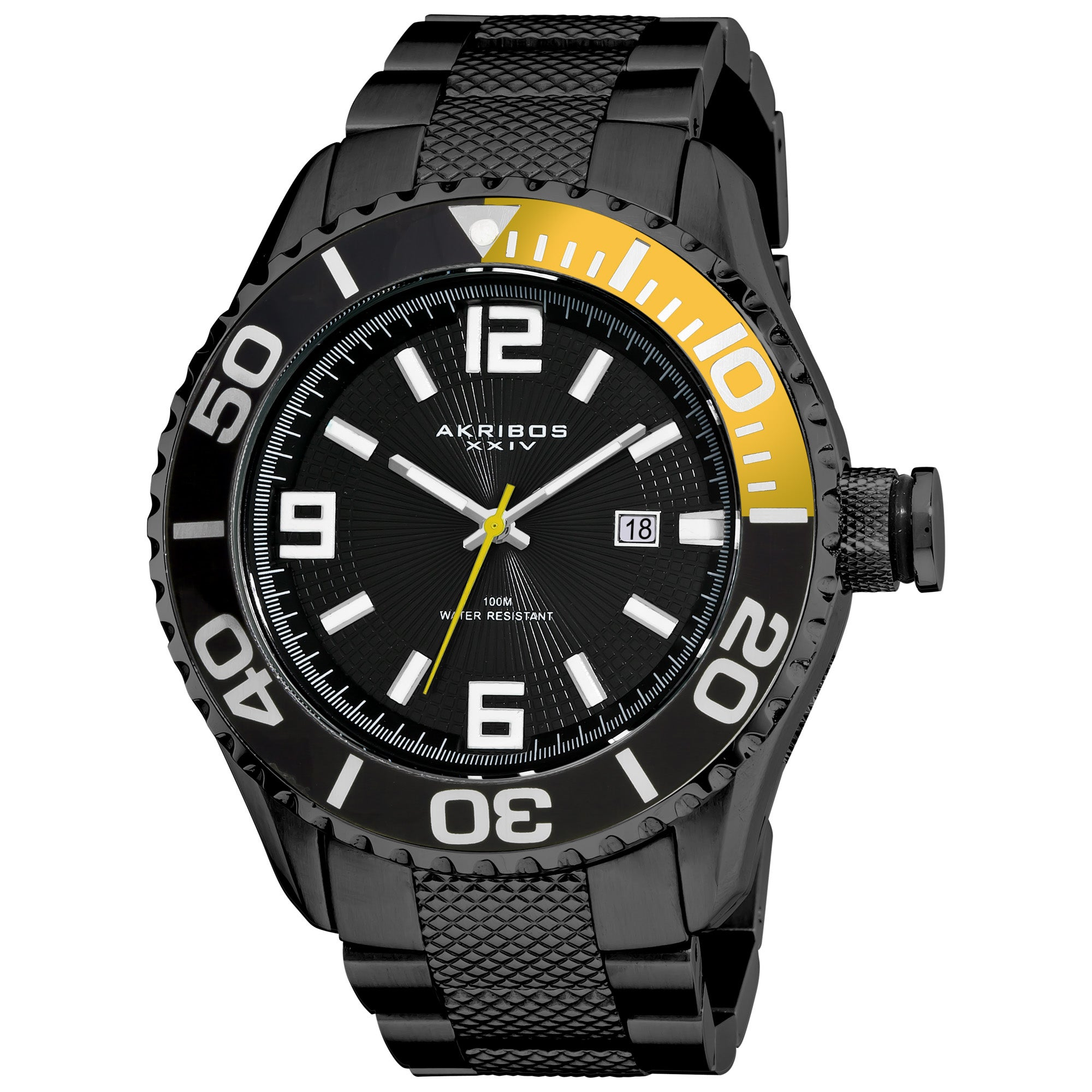 Akribos XXIV Men's Black Stainless Steel Large Diver's Watch in Ion Plated Black Finish